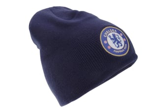Chelsea FC Mens Official Knitted Winter Football Crest Beanie Hat (Navy)