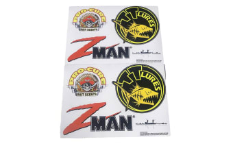 Pro Cure/TT Lures/Zman Team Sticker Pack-6 Assorted Fishing Stickers-Boat Decals