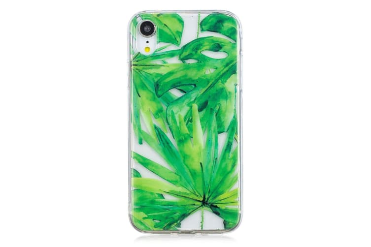 For iPhone XR Case Green Leaf Pattern TPU Protective Back Cover Impact-proof