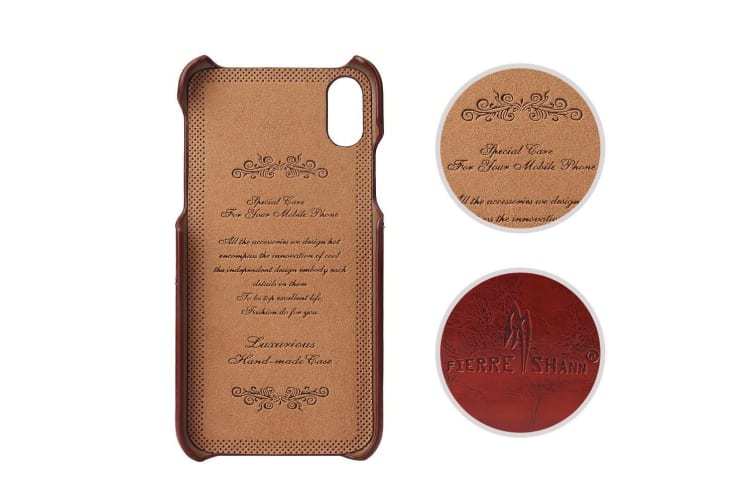 For iPhone XS X Case Styled Deluxe Durable Protective Leather Cover Brown