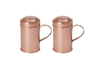 2PK Academy Orwell Steel Copper Plated Shaker Salt Pepper Spice Cheese w  Handle