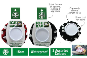 2 x Re-usable Ice Bag | Screw Lid Ice Pack First Aid  Black Red 15cm