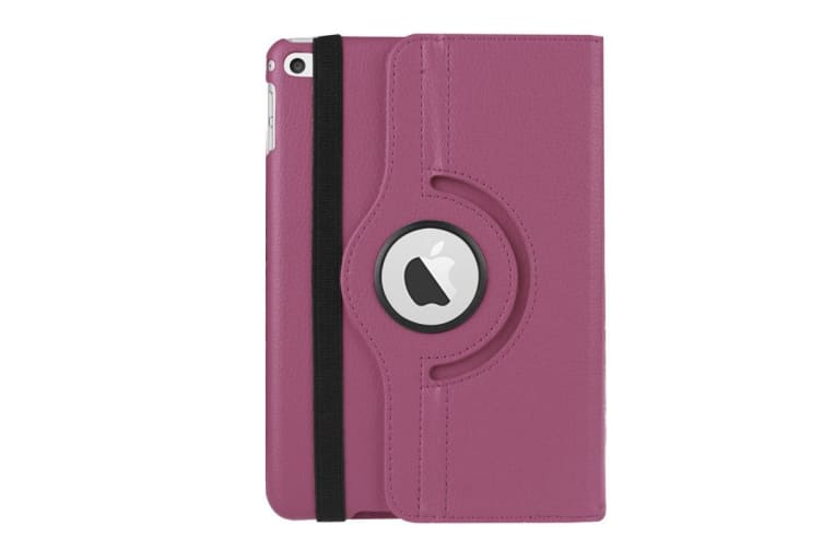 For iPad Mini 4 Case Modern Lychee 360 Degree Rotating Leather Cover Purple