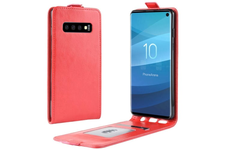 For Samsung Galaxy S10 Case Red PU Leather Vertical Flip-Style Cover