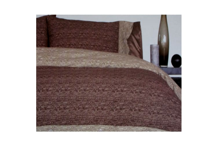 Moray Chocolate Quilt Cover Set Double