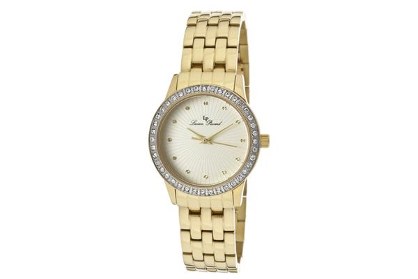 Lucien Piccard Women's Monte Velan White Austrian Crystal ChampagneTextured Dial Gold Tone IP Stainless Steel (LP-11696-YG-10)