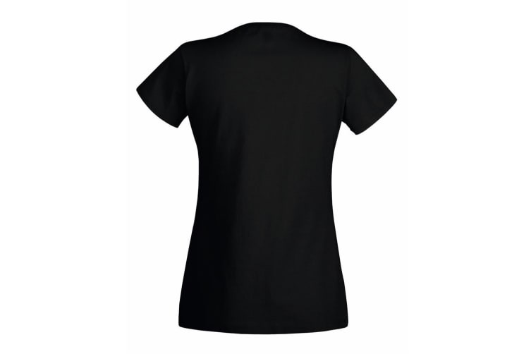 Womens/Ladies Value Fitted Short Sleeve Casual T-Shirt (Jet Black) (Small)