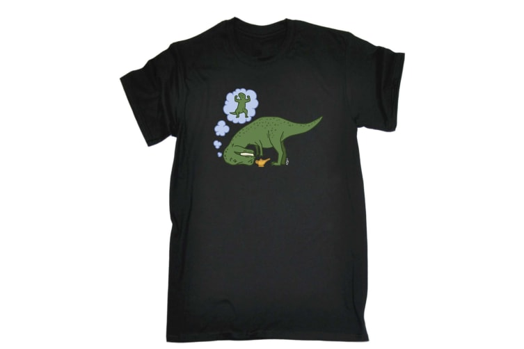 123T Funny Tee - Dino Wish Lamp - (5X-Large Black Mens T Shirt)