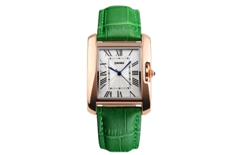 Womens Analog Quartz Wristwatch Roman Numeral Business Casual Watch Green