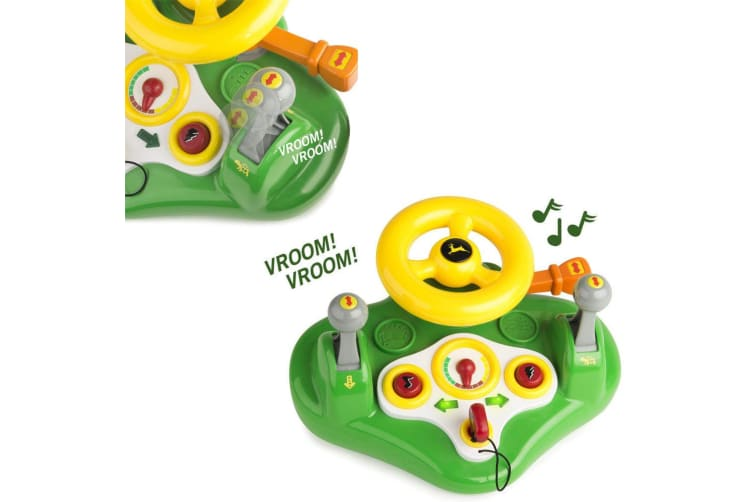 John Deere Busy Car Driver Driving Steering Wheel Lights On Sounds Toy Kids/Ride