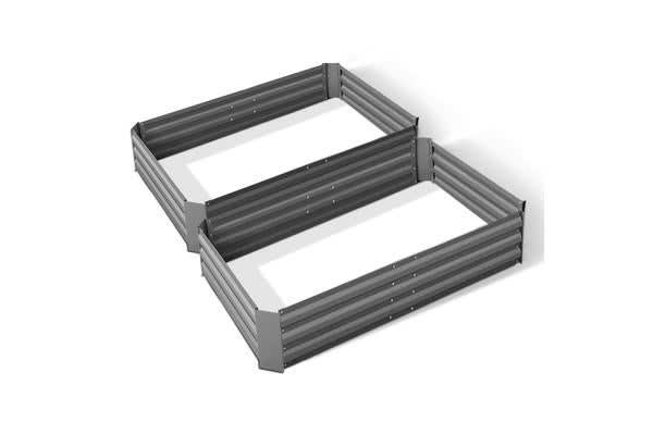 Green Fingers Set of 2 120 x 90cm Raised Garden Bed (Aluminium Grey)