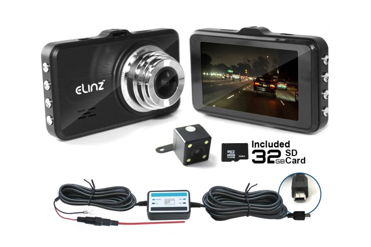 "Elinz 3"" LCD Dash Cam Dual Camera Reversing Recorder WiFi DVR FHD 1296P Car Video 32GB"