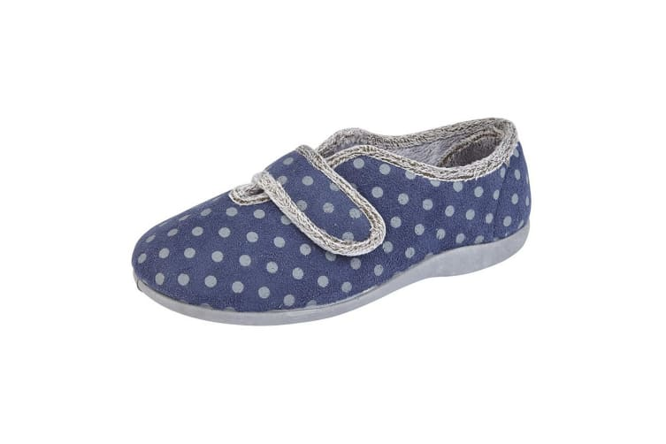 Sleepers Womens/Ladies Lucy V Throat Touch Fastening Memory Foam Slipper (Navy/Grey) (9 UK)