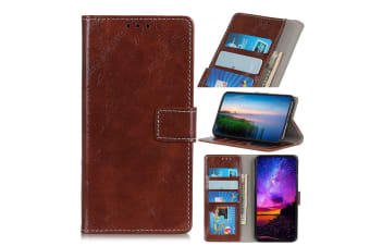 For Google Pixel 4 Case Retro Protective Leather Wallet Cover with Holder Brown