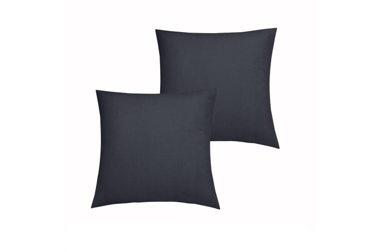 Pair of Waffle Linen Cotton European Pillowcases Slate by Accessorize