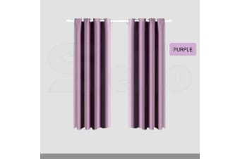 2X Blockout Curtains Panels Blackout 3 Layers Eyelet Room Darkening Pure Fabric  -  Purple180x230cm