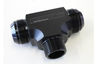 "Aeroflow Tee -20AN With 1""Npt On Side Black An Tee With NPT On Side"