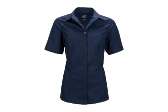 James and Nicholson Womens/Ladies Shortsleeve Business Shirt (Navy) (L)