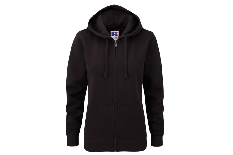 Russell Ladies Premium Authentic Zipped Hoodie (3-Layer Fabric) (Black) (XL)