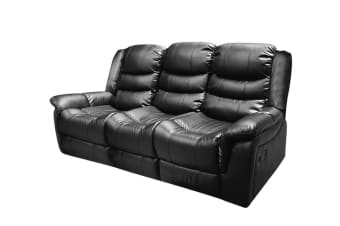 Alan Recliner Bonded Leather 3 Seater (Black)