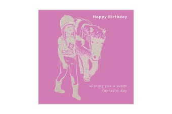 Deckled Edge Colour Block Pony Greetings Card (Happy Birthday - Girl with Pony (Lilac))