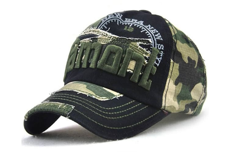 Camo Distressed Baseball Cap Embroidery Curved Bill Dad Hat Cotton Strapback