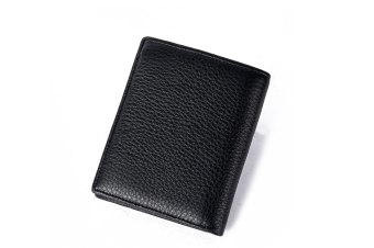 Leather Wallet Bluetooth Connected With App Anti Lost Wallet Black Vertical