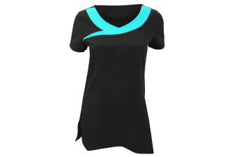 Premier Womens/Ladies Ivy Beauty And Spa Tunic (Contrast Neckline) (Black/ Turquoise) (8)