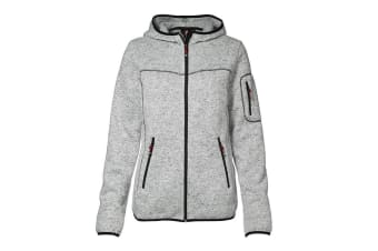ID Womens/Ladies Knit Full Zip Fitted Fleece Jacket/Hoodie (Grey melange) (XL)