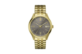 Caravelle Men's Anolog Quartz Watch - Gold Plated Stainless Steel/Brown (44B122)