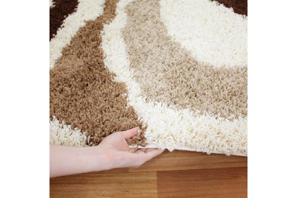 Modern Waves Shag Rug beige, Brown, Taupe 150x80cm