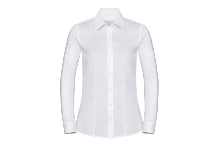 Russell Collection Womens/Ladies Long Sleeve Tailored Coolmax Shirt (White) (4XL)
