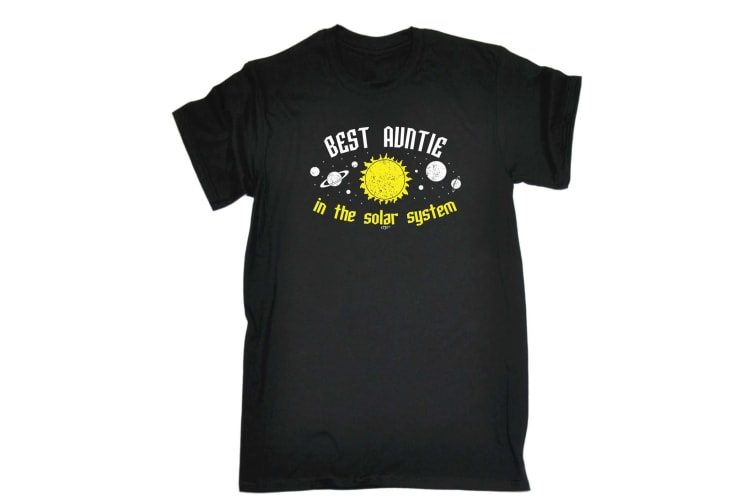 123T Funny Tee - Best Auntie In The Solar System - (3X-Large Black Mens T Shirt)