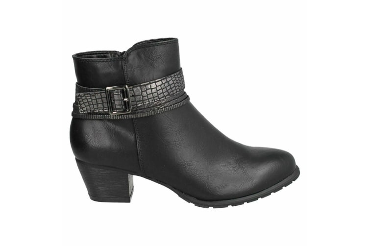 Spot On Womens/Ladies Snake Buckle Strap Ankle Boots (Black) (UK 5)