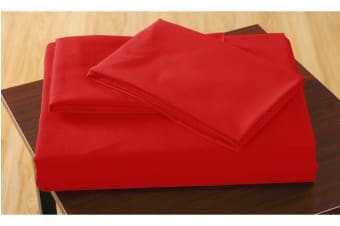 Polyester 3 Piece Bed Fitted Sheet + Pillowcase Double Red