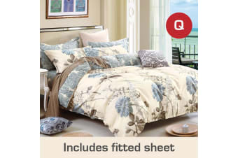 Queen Size Dandelion Design Cotton Quilt Cover +Fitted Sheet