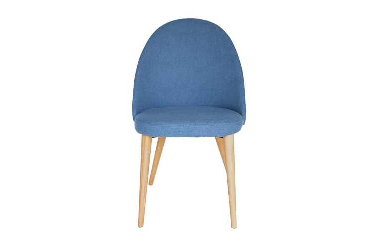 Miller Dining Chair | Blue Fabric | Natural Legs