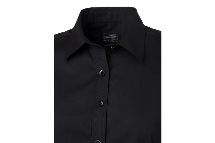 James and Nicholson Womens/Ladies Shortsleeve Poplin Shirt (Black) (S)