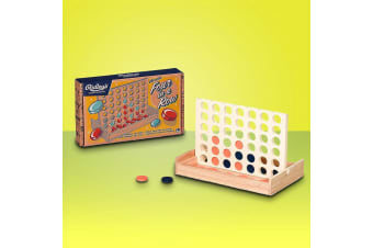 Ridley`s Four in a Row Classic Connect Game With Wooden Game Board