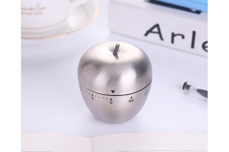 Stainless Steel Timer Kitchen Machinery Timing Reminder Clock - Apple Silver
