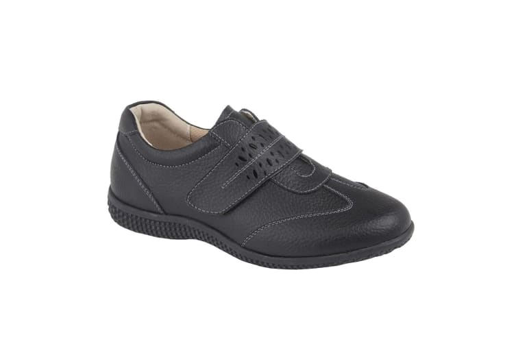 Boulevard Womens/Ladies Leather EEE Wide Touch Fastening Shoe (Black Action) (4 UK)
