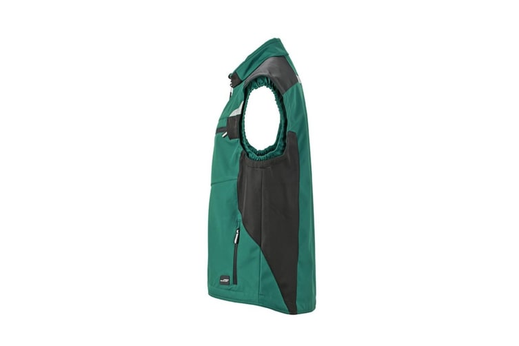 James and Nicholson Unisex Workwear Softshell Vest (Dark Green/Black) (S)