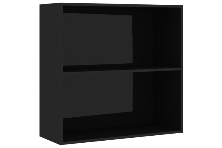vidaXL 2-Tier Book Cabinet High Gloss Black 80x30x76.5 cm Chipboard