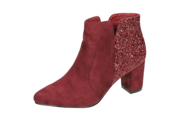 Anne Michelle Womens/Ladies Mid Heel Ankle Boots (Burgundy) (UK 5)