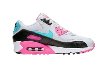Nike Women's Air Max 90 South Beach Shoes (Pink/Teal/White/Black, Size 8 US)