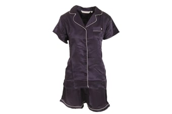 Forever Dreaming Womens/Ladies Luxury Satin Short Sleeve Top And Shorts Pyjama Set (Navy)