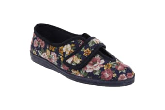 Sleepers Womens/Ladies Wilma Touch Fastening V Opening Floral Casual Cotton Slippers (Navy Blue)