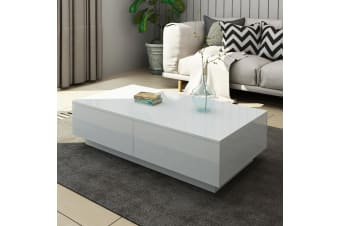 Modern Coffee Table 4-Drawer Storage Shelf High Gloss Wood Living Room Furniture - White