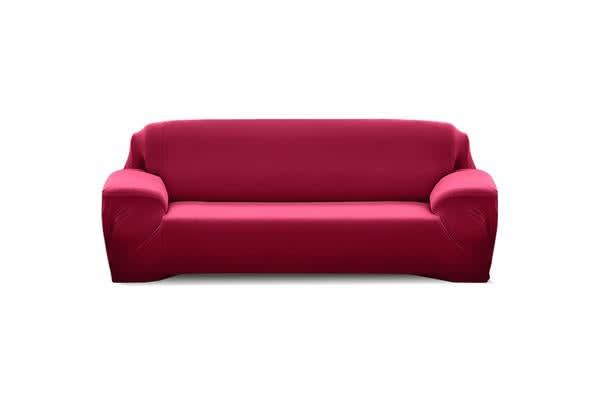 Easy Fit Stretch 3 Seater Couch Sofa Slipcover Burgundy