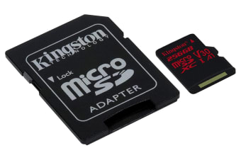 KINGSTON  Canvas React: MicroSD 256GB , 100MB/s read and 70MB/s write with SD adapter  SDCR/256GB